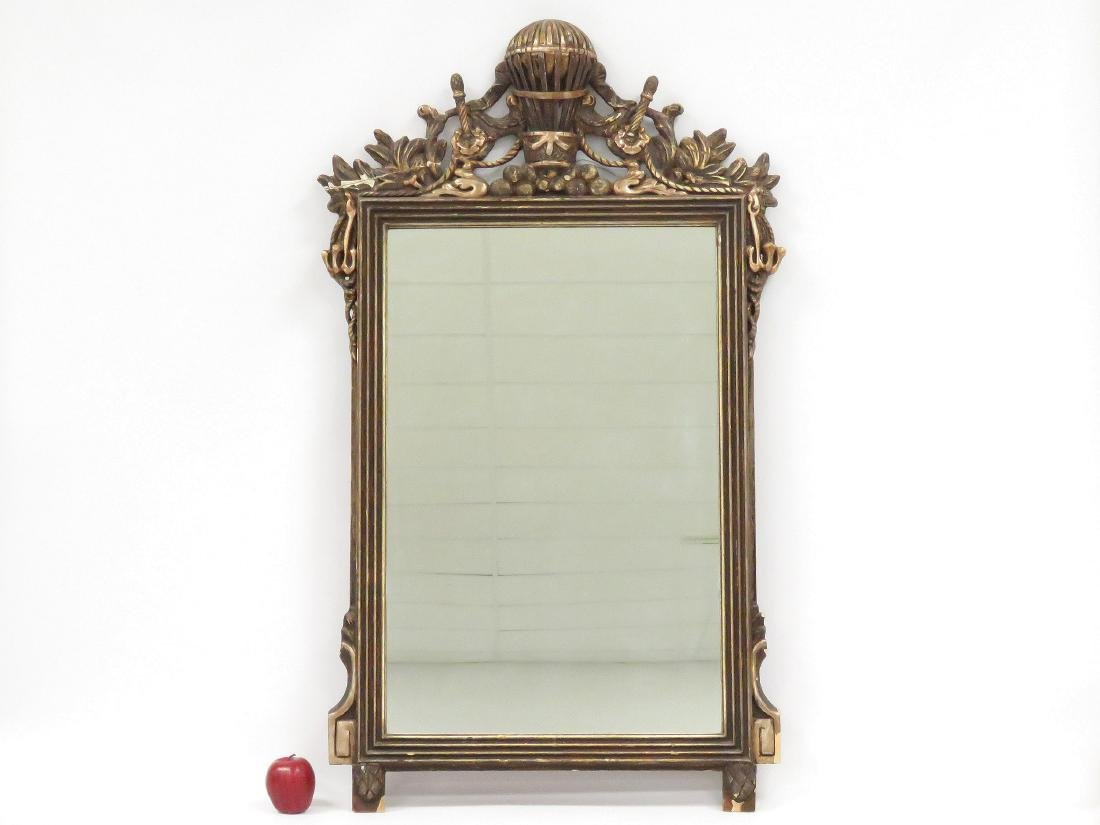 """FRENCH CARVED AND GILT FRAMED MIRROR. HEIGHT 50""""; WIDTH"""