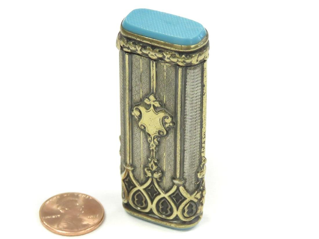 ANTIQUE CONTINENTAL GILT SILVER MATCH SAFE/STRIKE,
