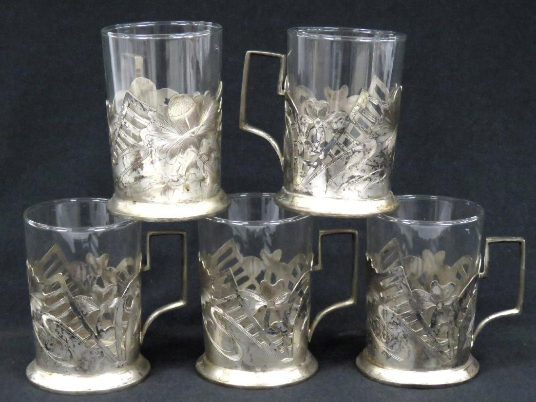 """SET (5) WMF """"FEUERFEST"""" SILVER PLATE AND GLASS DRINKING"""