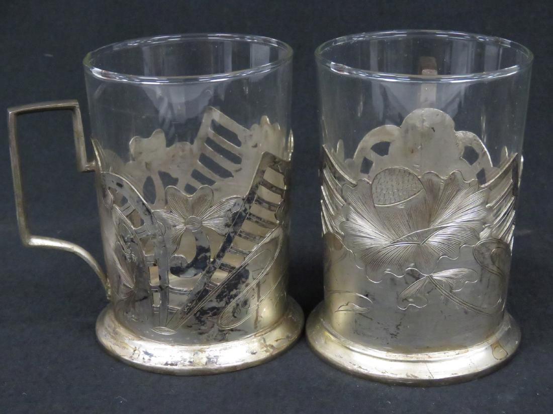 """SET (5) WMF """"FEUERFEST"""" SILVER PLATE AND GLASS DRINKING - 2"""