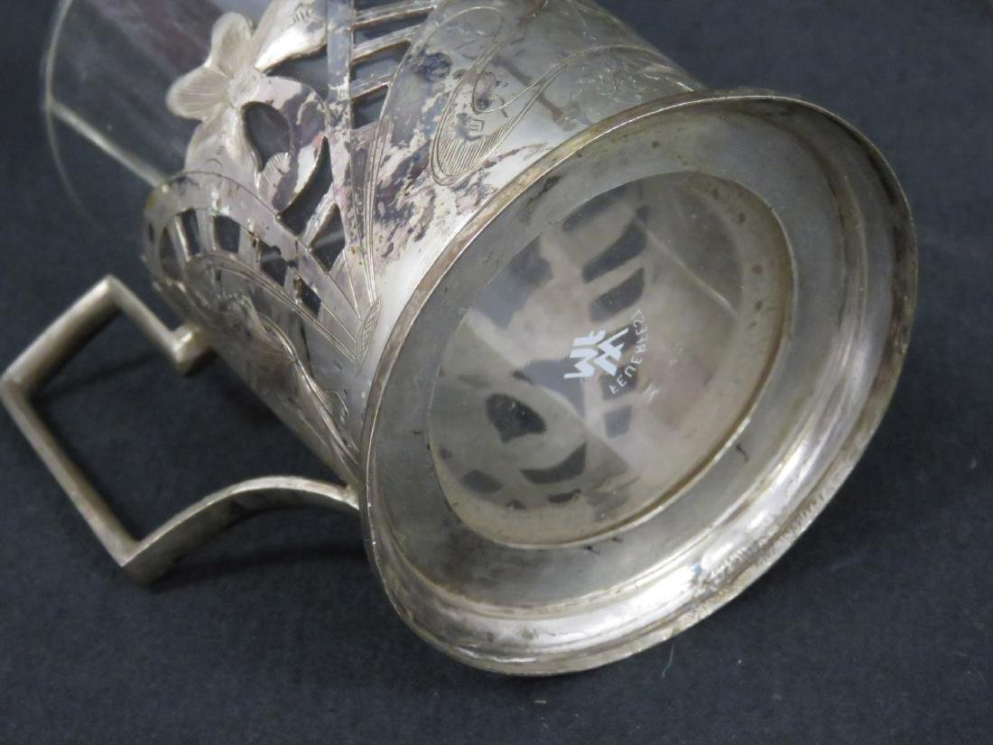 """SET (5) WMF """"FEUERFEST"""" SILVER PLATE AND GLASS DRINKING - 4"""