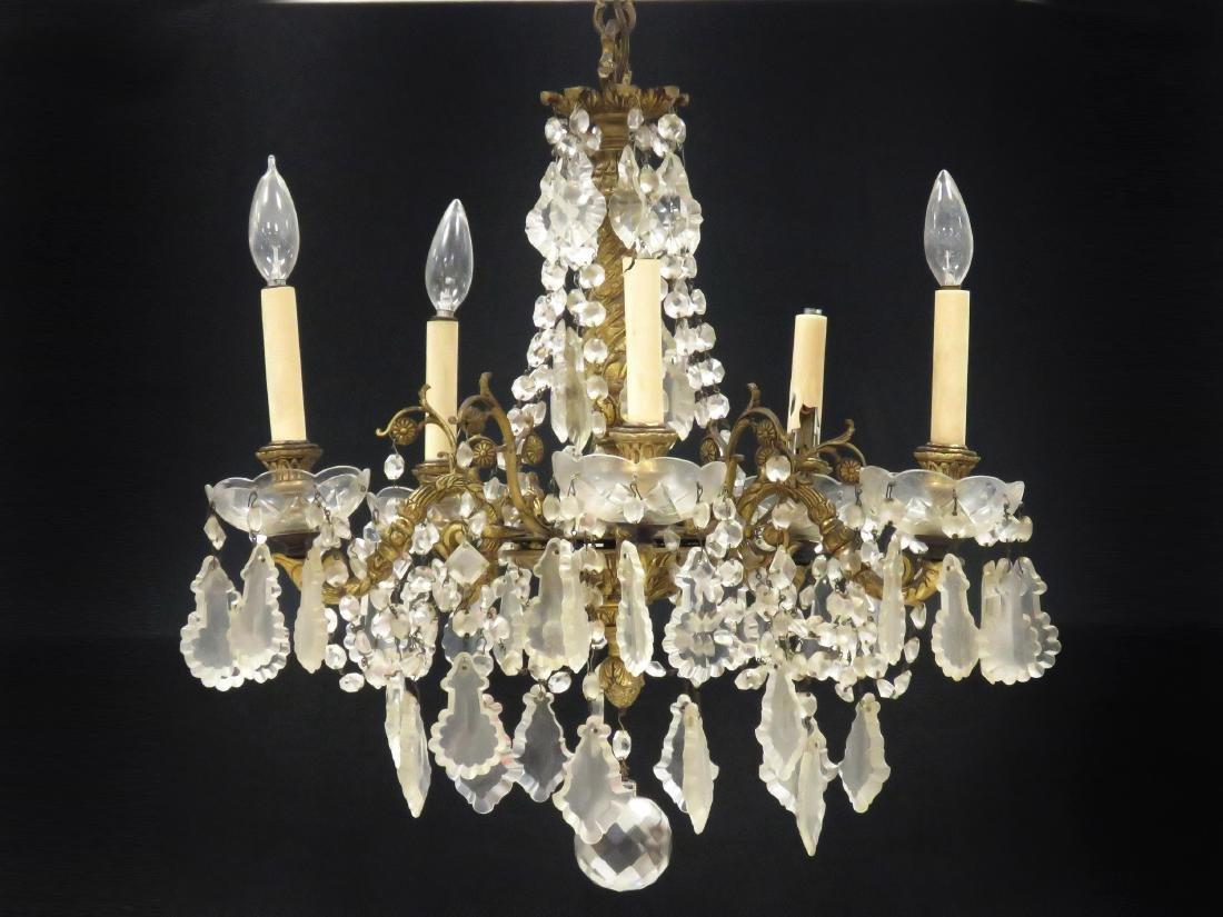 FRENCH STYLE BRASS AND CRYSTAL 5-ARM CHANDELIER. HEIGHT