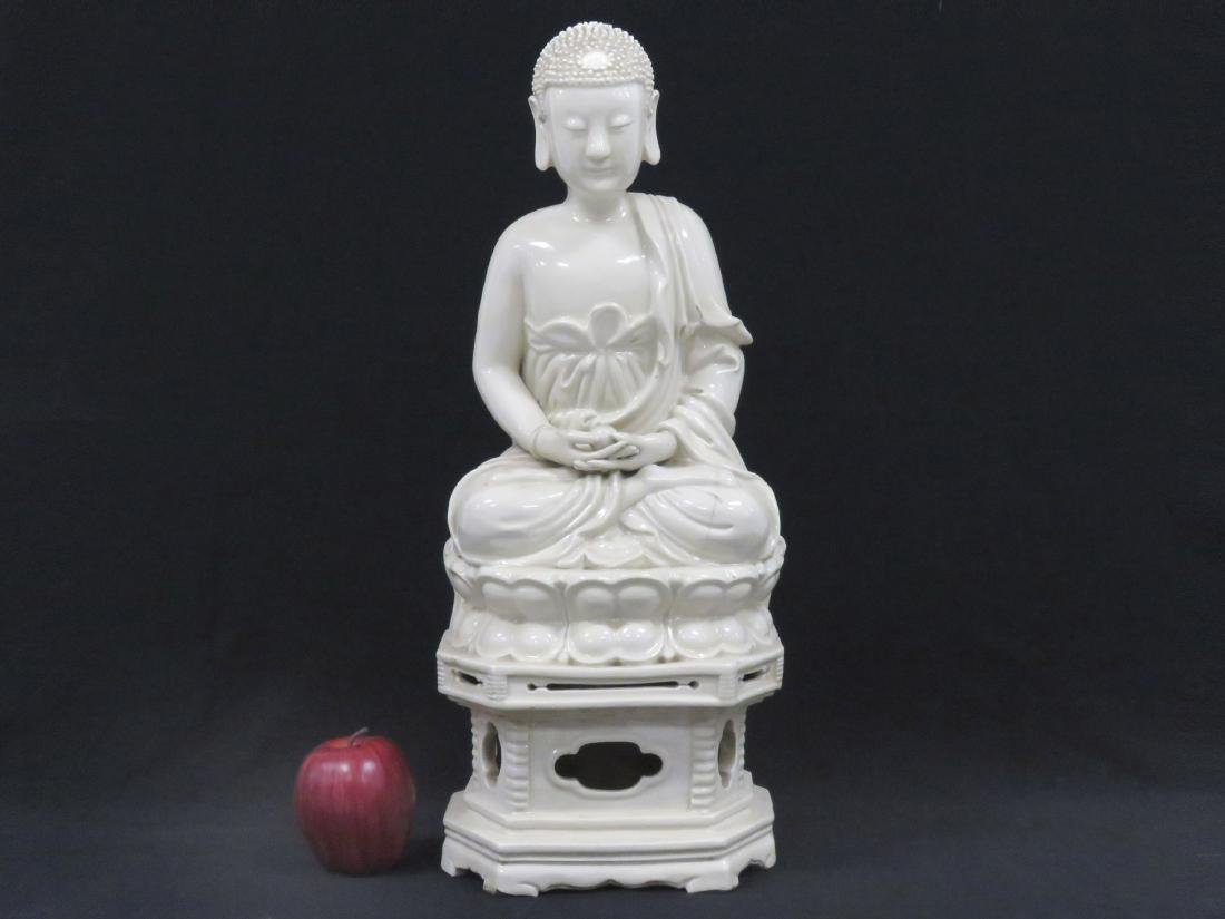 CHINESE BLANC DE CHINE PORCELAIN SEATED BUDDHA ON