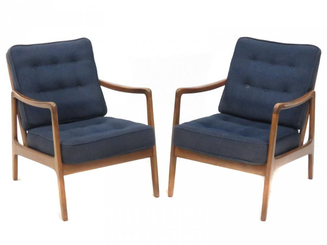 PAIR JENS RISOM STYLE MID-CENTURY ARMCHAIRS, SIGNED