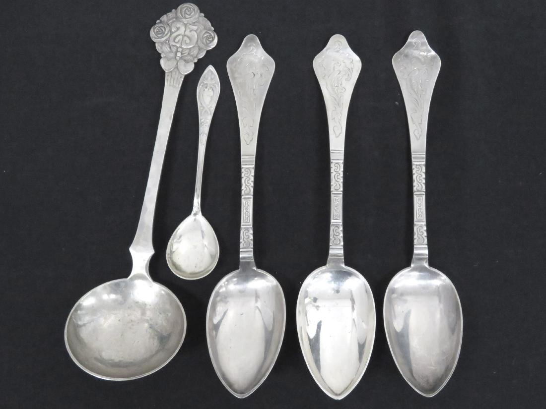 LOT (5) DENMARK SILVER SERVING SPOONS AND COFFEE/TEA