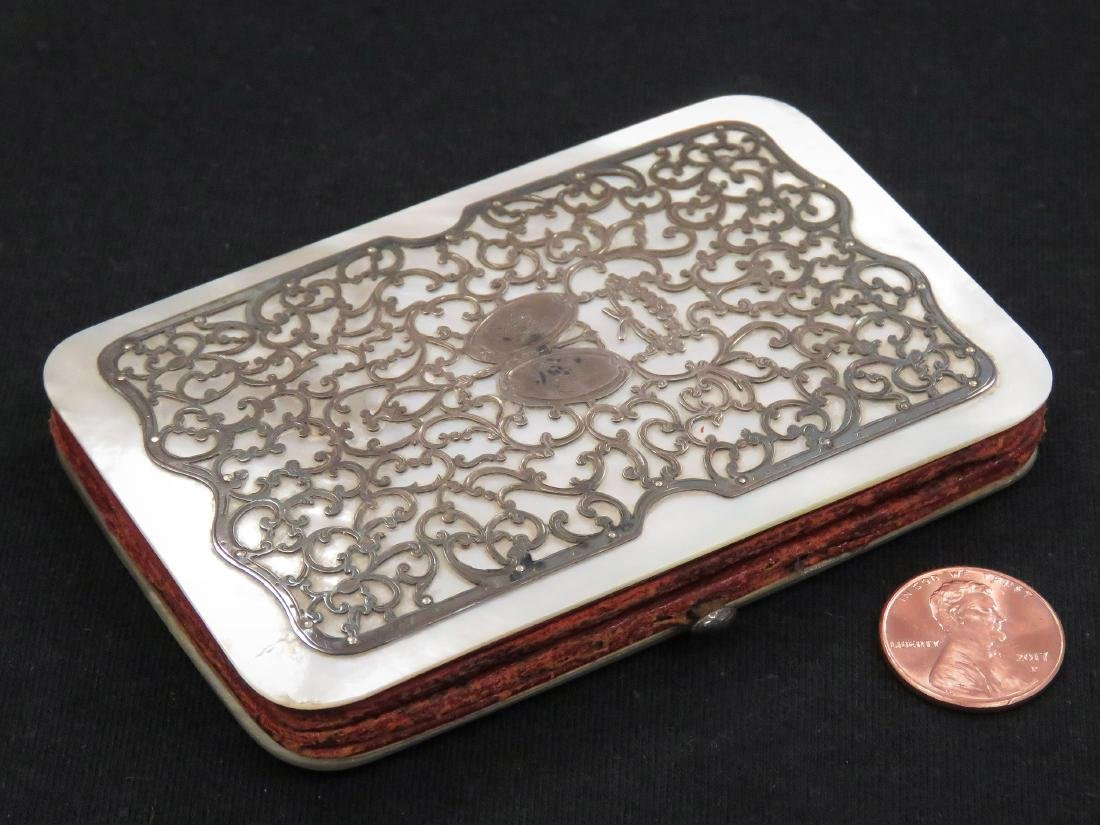 ANTIQUE SILVER OVERLAY MOTHER-OF-PEARL LEATHER AND SILK