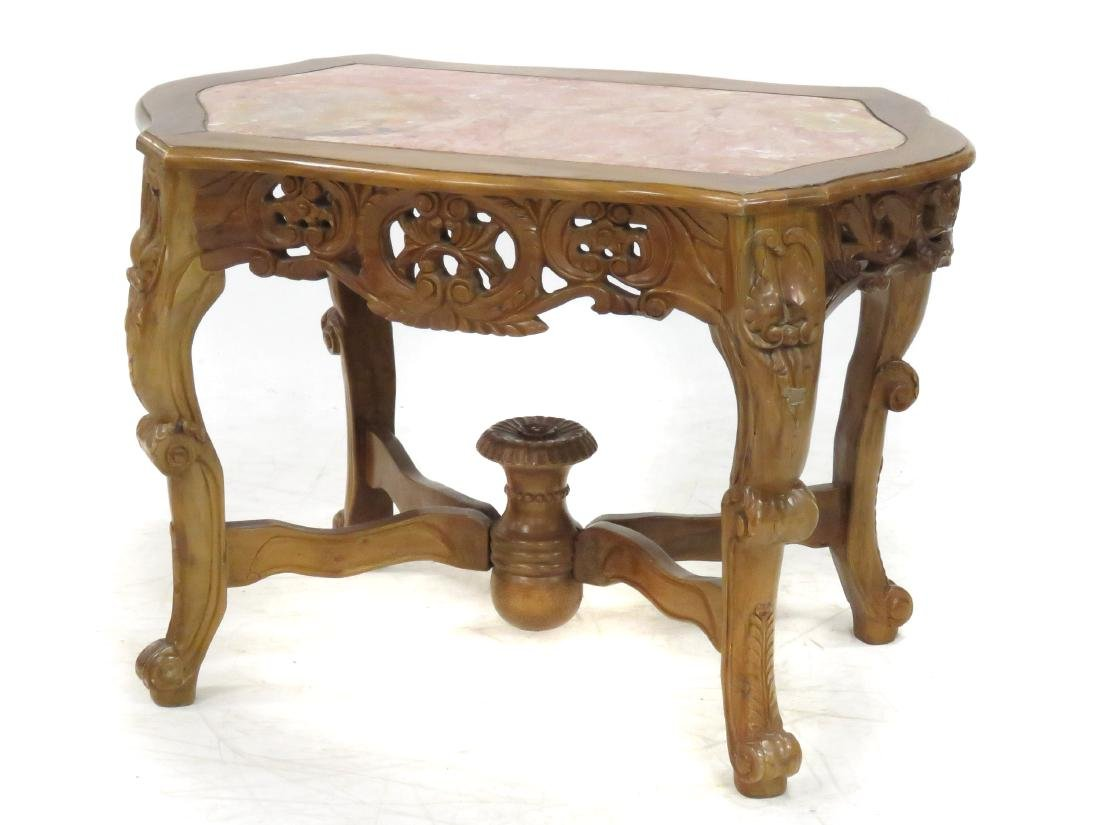 ANGLO INDIAN STYLE CARVED WALNUT CENTER TABLE WITH