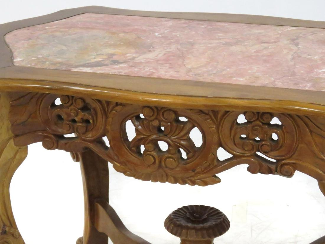 ANGLO INDIAN STYLE CARVED WALNUT CENTER TABLE WITH - 2