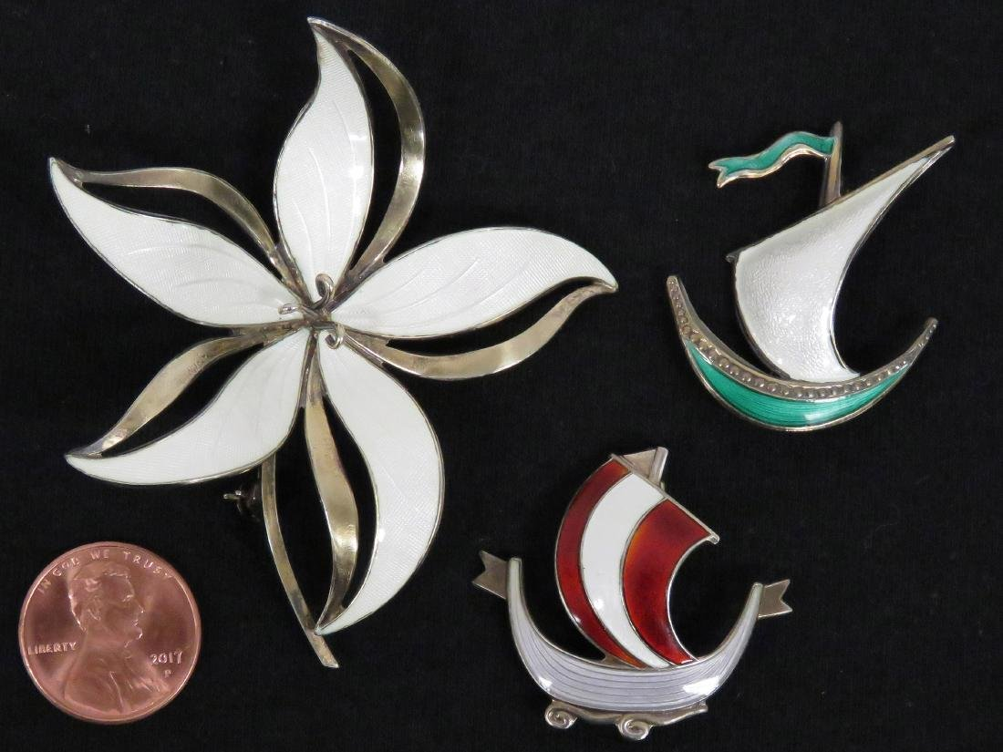LOT (3) NORWAY 925 STERLING/ENAMEL PINS INCLUDING