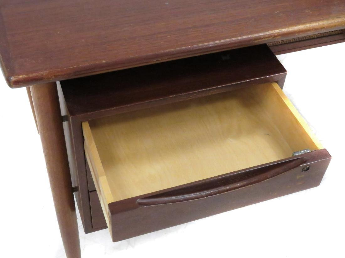 MID-CENTURY MODERN TEAK DESK WITH FLOATING TOP. HEIGHT - 2