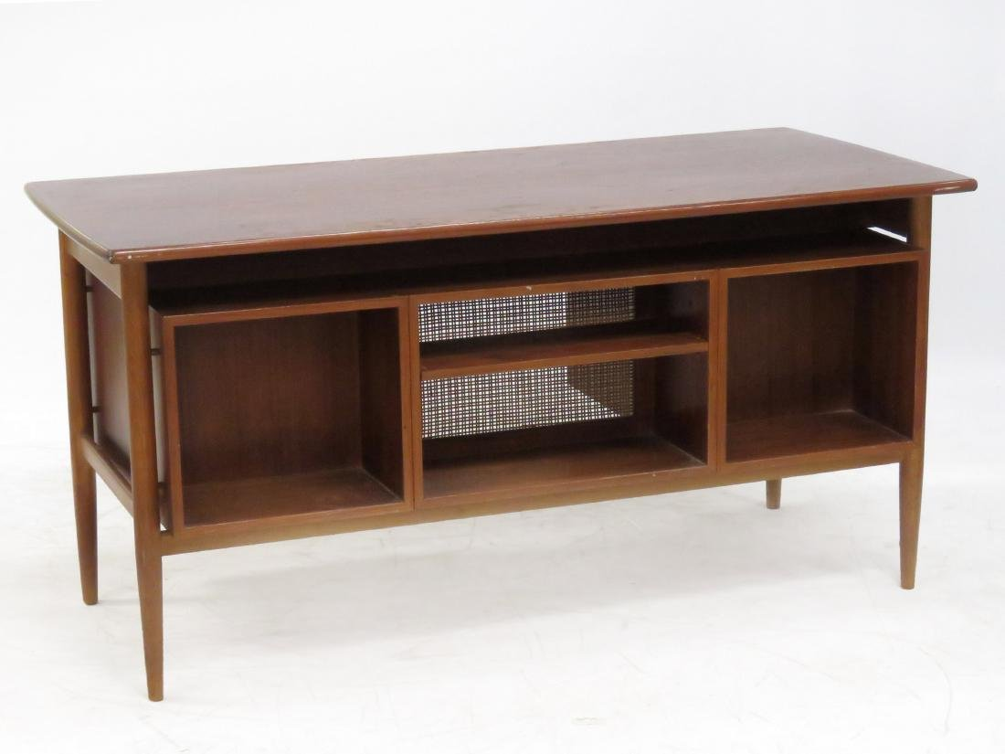 MID-CENTURY MODERN TEAK DESK WITH FLOATING TOP. HEIGHT - 3