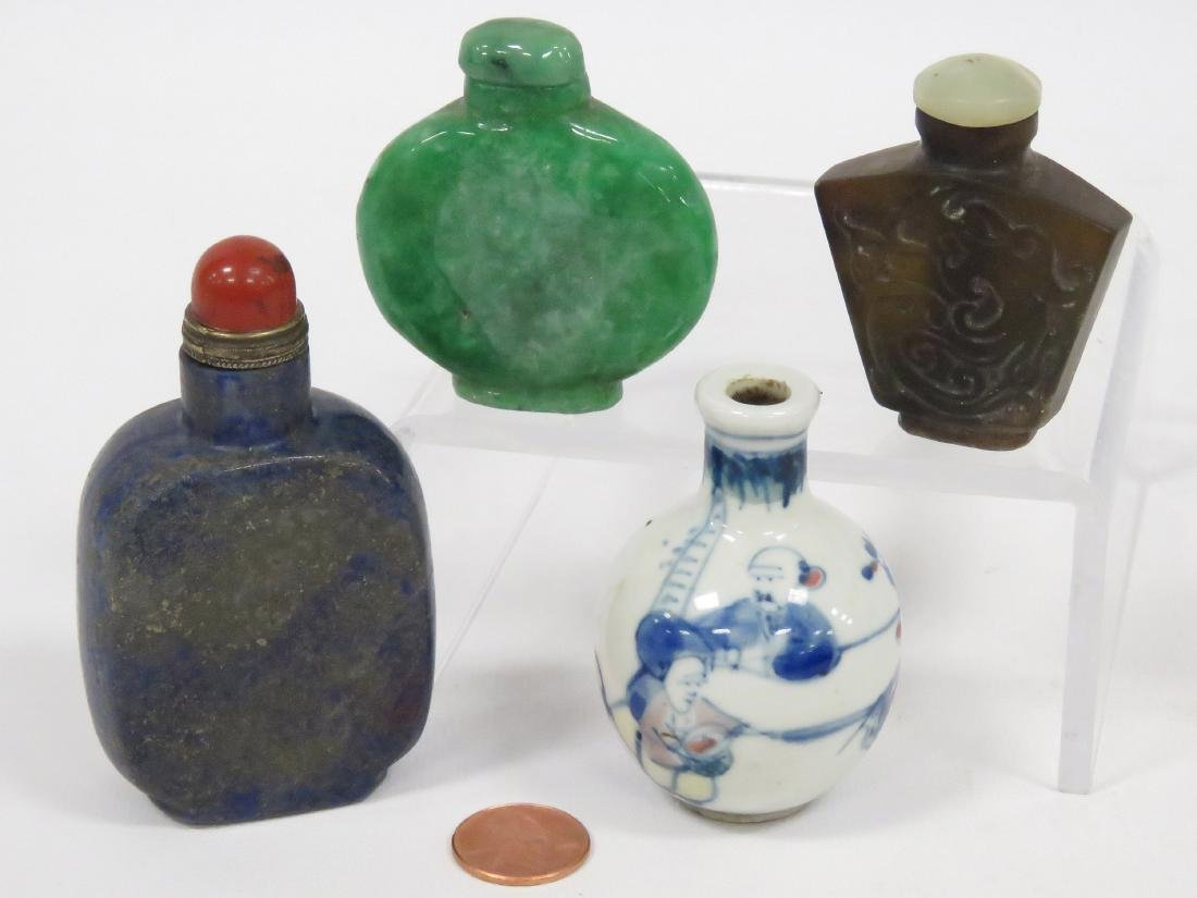 LOT (4) CHINESE SNUFF BOTTLES INCLUDING HARDSTONE AND