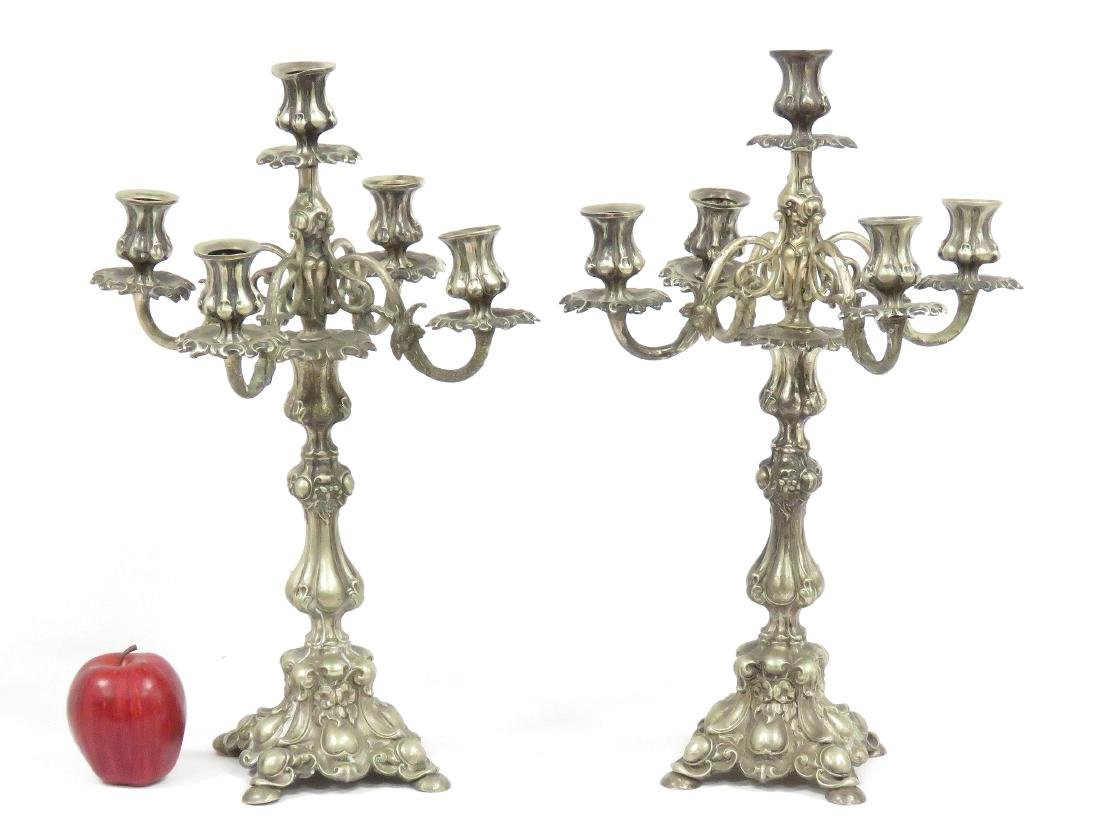 PAIR CONTINENTAL SILVER PLATE CANDELABRA, 19TH CENTURY.