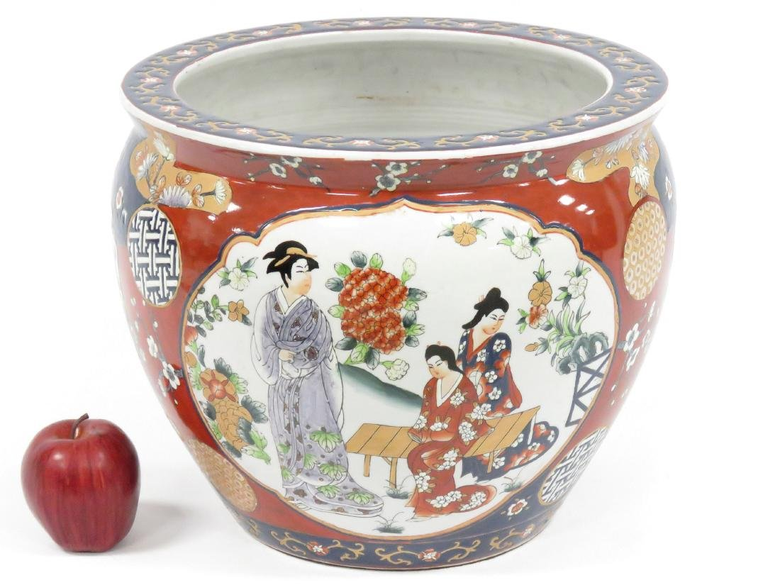 CHINESE DECORATED PORCELAIN FISH BOWL, SIGNED 20TH