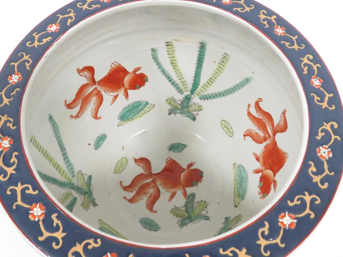 CHINESE DECORATED PORCELAIN FISH BOWL, SIGNED 20TH - 2