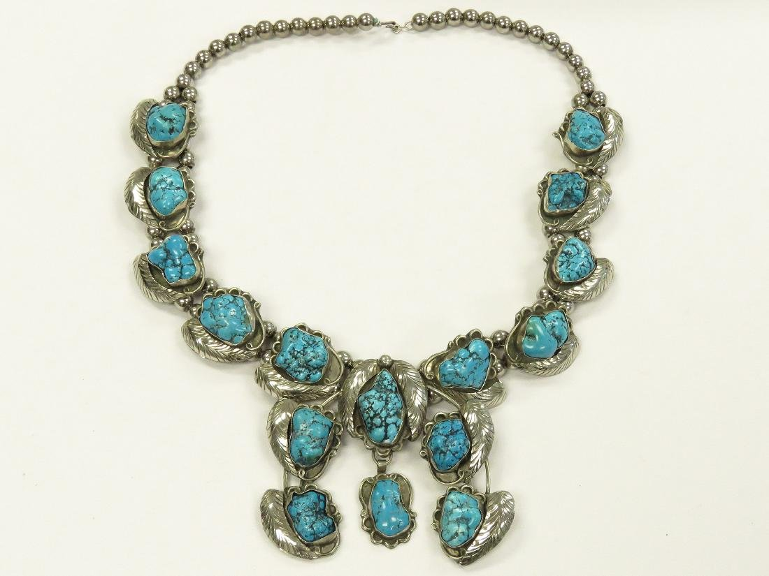 VINTAGE SOUTHWEST STYLE SILVER TONE AND FAUX TURQUOISE