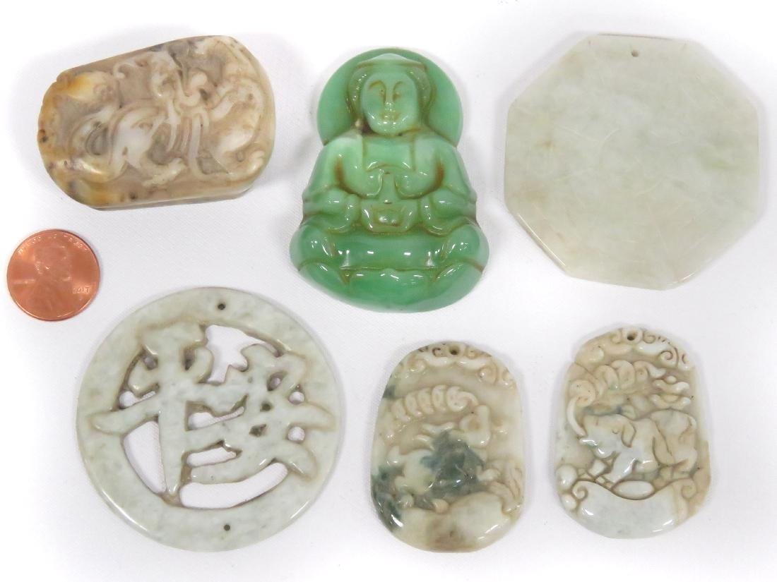 LOT (6) ASSORTED CHINESE CARVED HARDSTONE