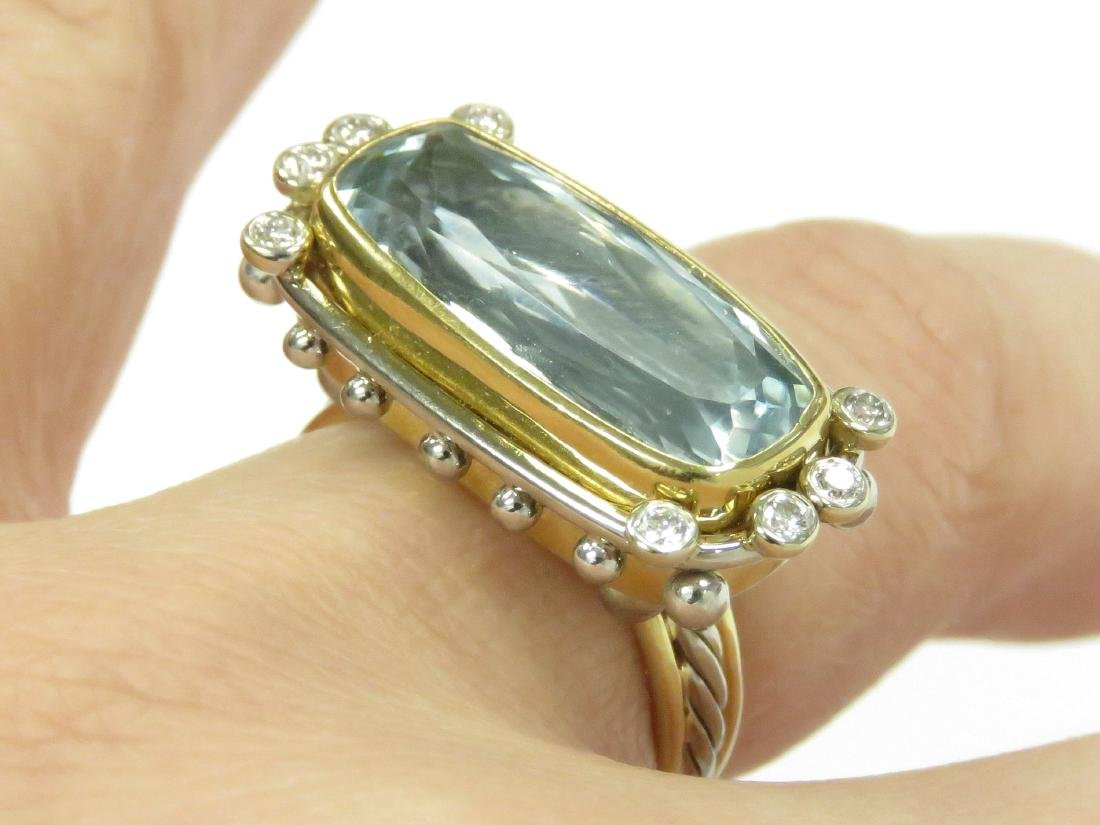 18K/22K YELLOW AND WHITE GOLD, 7.0-8.0CT AQUAMARINE AND