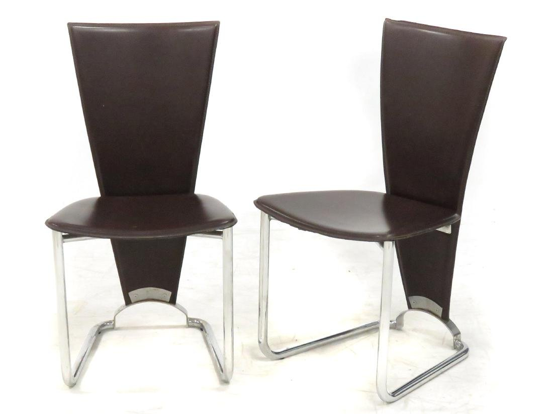 PAIR DESIGNER MODERN CHROME STEEL AND LEATHER SIDE