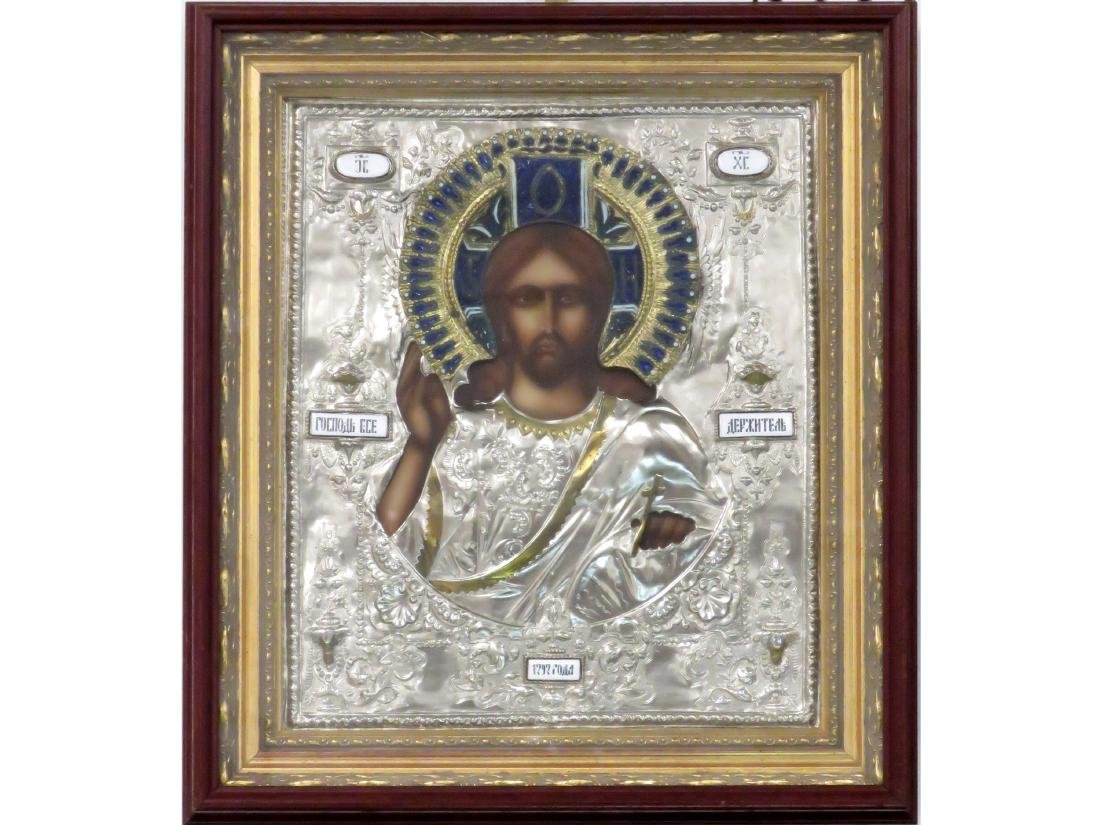 RUSSIAN PRINTED ICON ON WOOD PANEL WITH SILVERED AND
