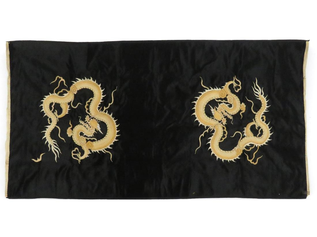 CHINESE EMBROIDERED SILK DRAGON PANEL, REPUBLIC. 44 X