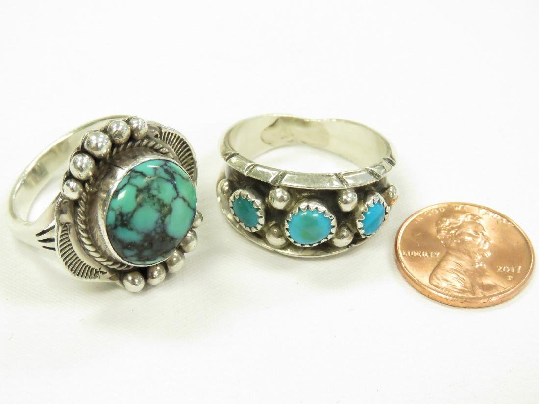 LOT (2) SOUTHWEST SILVER AND TURQUOISE RINGS. RING SIZE