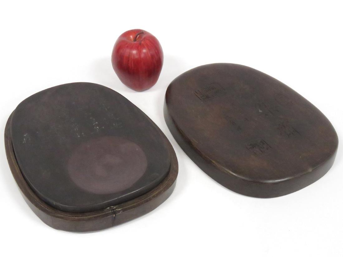 CHINESE CARVED INK STONE WITH HARDWOOD CASE, SIGNED.