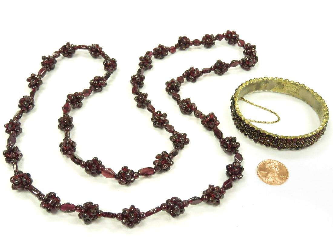 LOT (2) VINTAGE GARNET JEWELRY INCLUDING BRASS AND