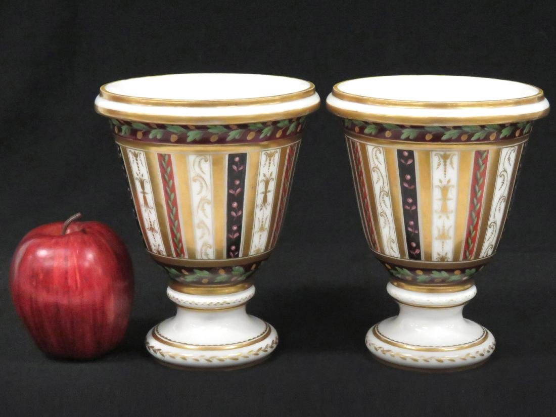 PAIR CONTINENTAL DECORATED PORCELAIN CACHE POTS, 19TH