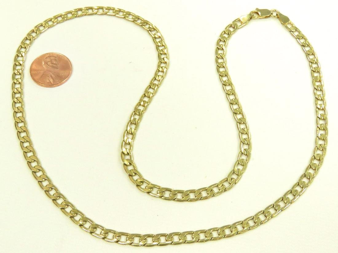 "ITALIAN 14K YELLOW GOLD FLAT-LINK NECKLACE. LENGTH 24"";"