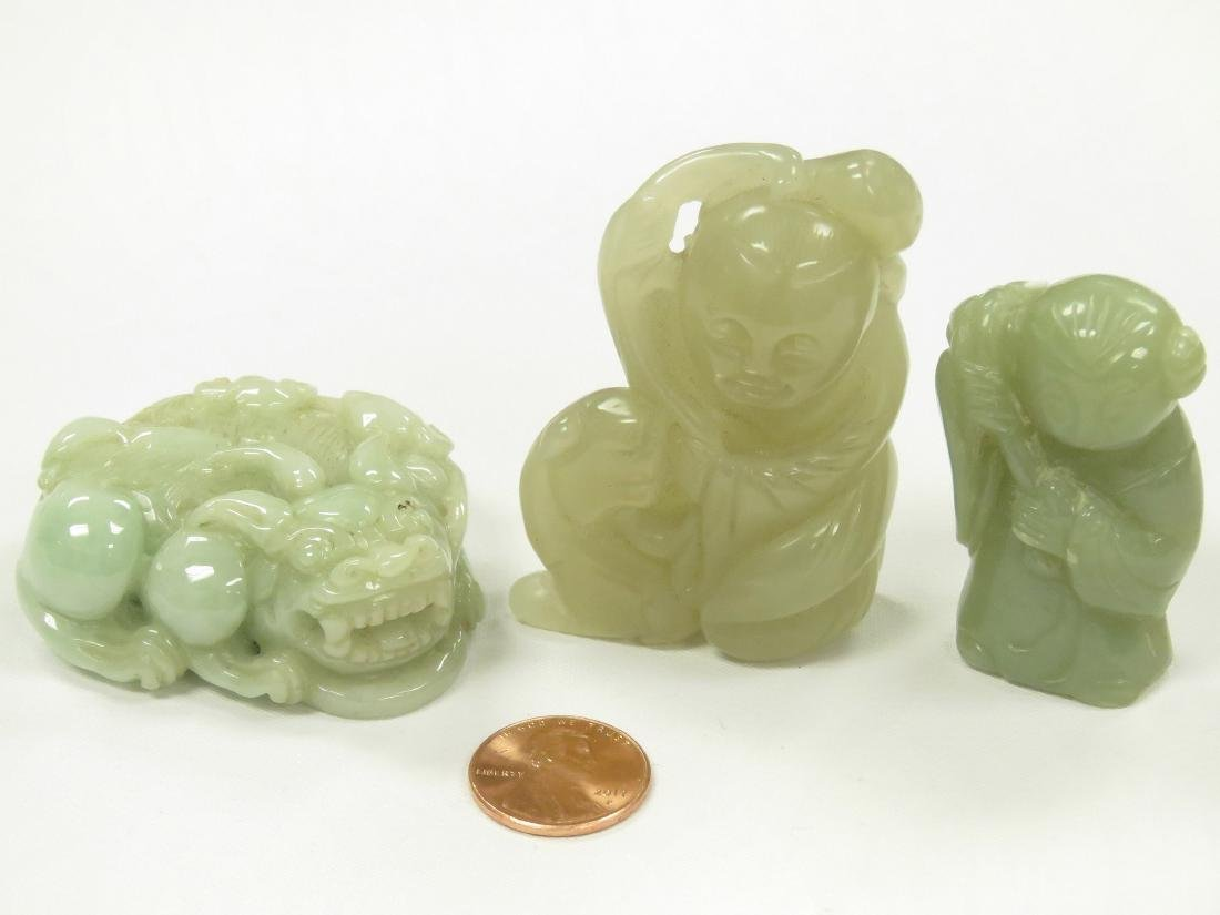 LOT (3) CHINESE CARVED HARDSTONE FIGURES INCLUDING