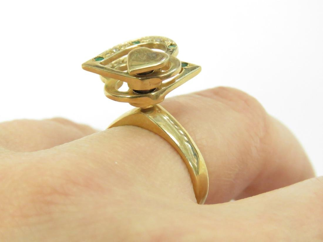 14K YELLOW GOLD RING WITH ROTATING HEARTS SET WITH - 2
