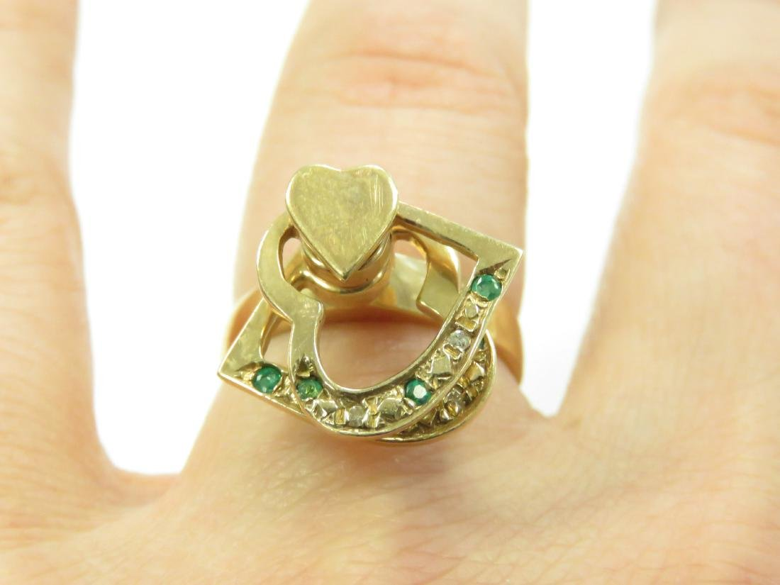 14K YELLOW GOLD RING WITH ROTATING HEARTS SET WITH - 3