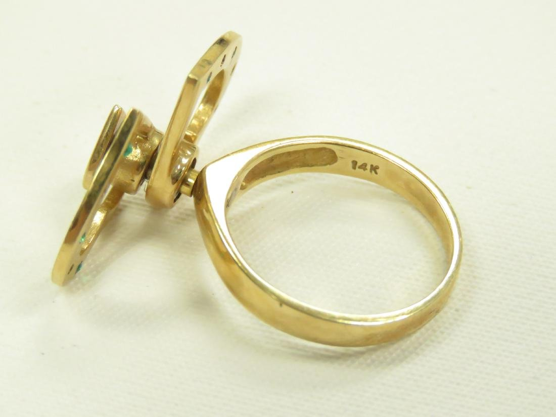 14K YELLOW GOLD RING WITH ROTATING HEARTS SET WITH - 4