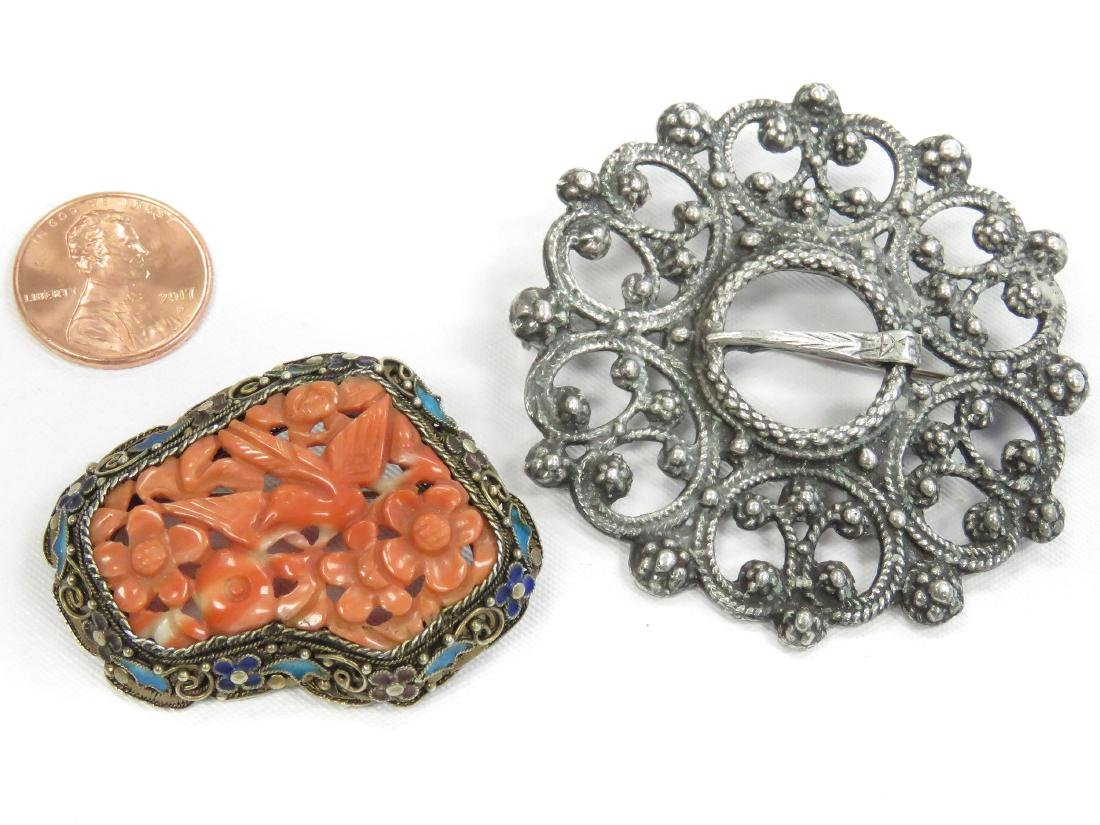 LOT (2) VINTAGE SILVER BROOCHES INCLUDING CHINESE,