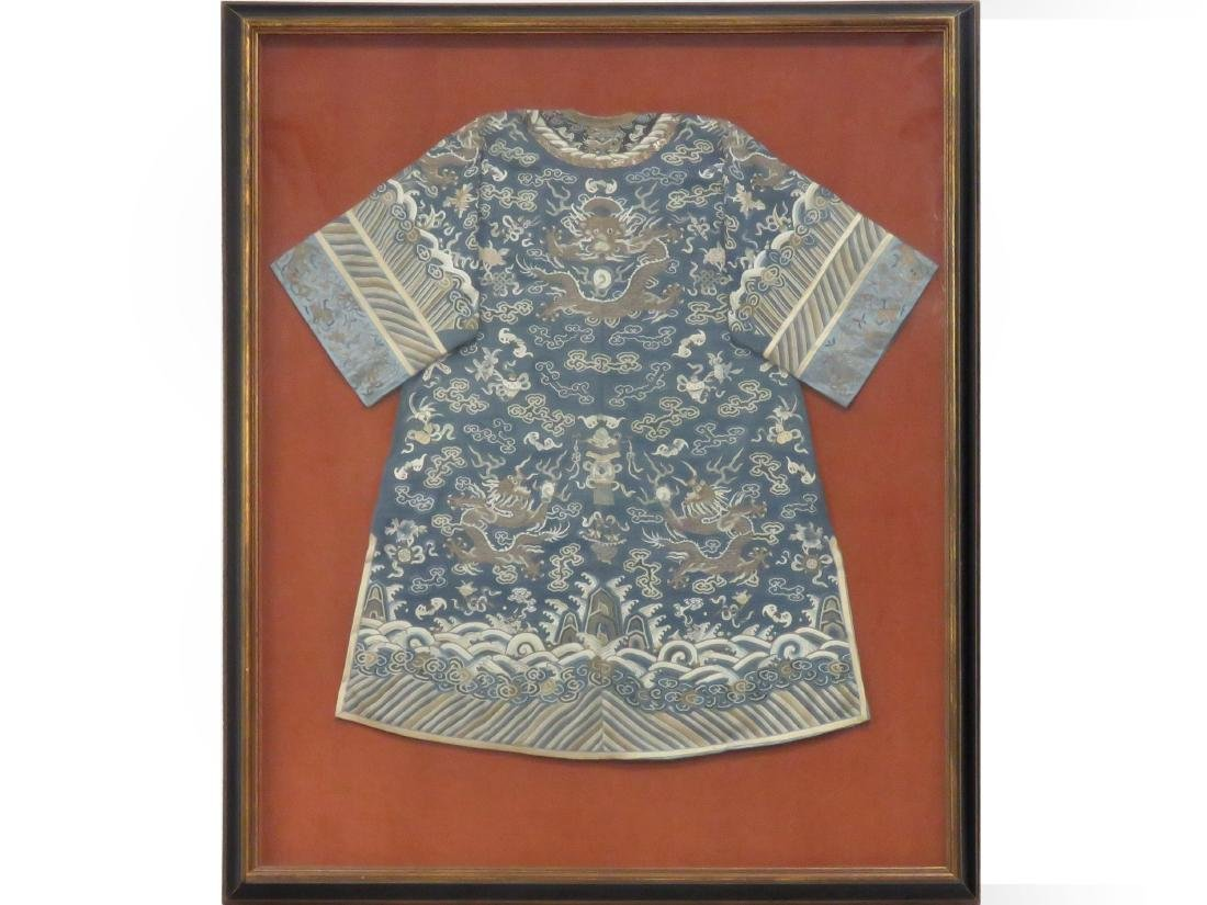 CHINESE KESI/EMBROIDERED SILK IMPERIAL DRAGON ROBE,