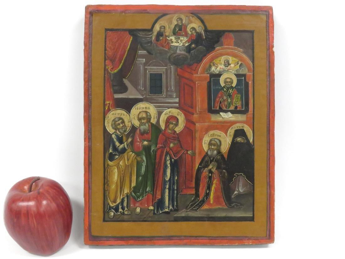 RUSSIAN ICON ON WOOD PANEL, APPEARANCE OF MOTHER OF GOD