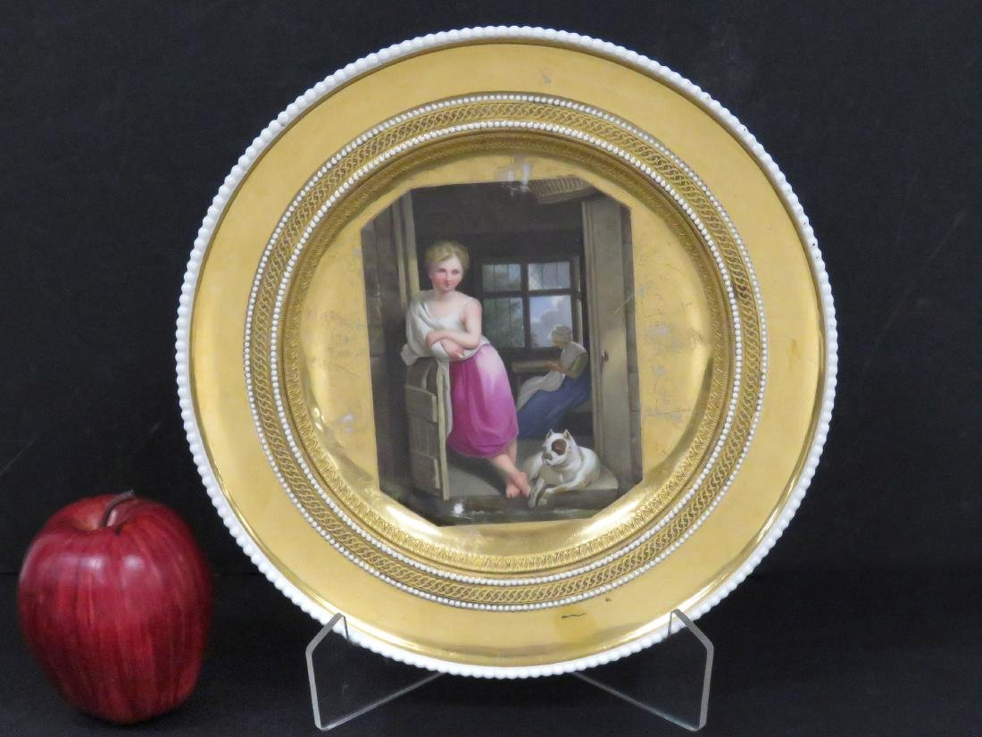 KPM GILT DECORATED PORCELAIN PORTRAIT PLATE, SIGNED.