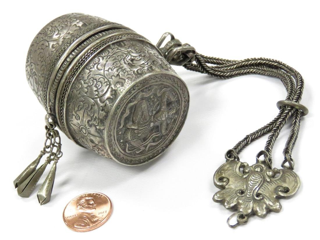 THAILAND SILVER BETEL NUT CHANDELAINE BOX WITH CHAINS