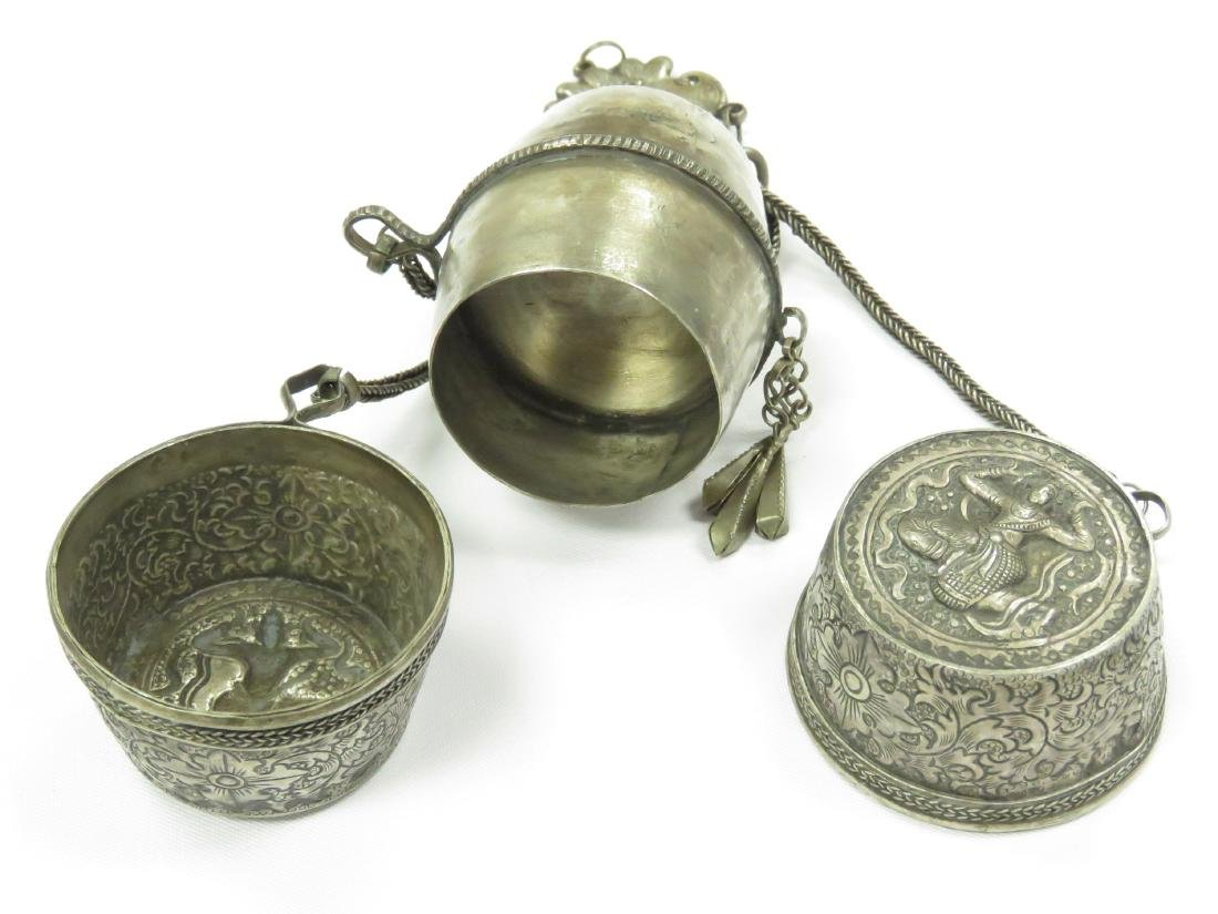 THAILAND SILVER BETEL NUT CHANDELAINE BOX WITH CHAINS - 3