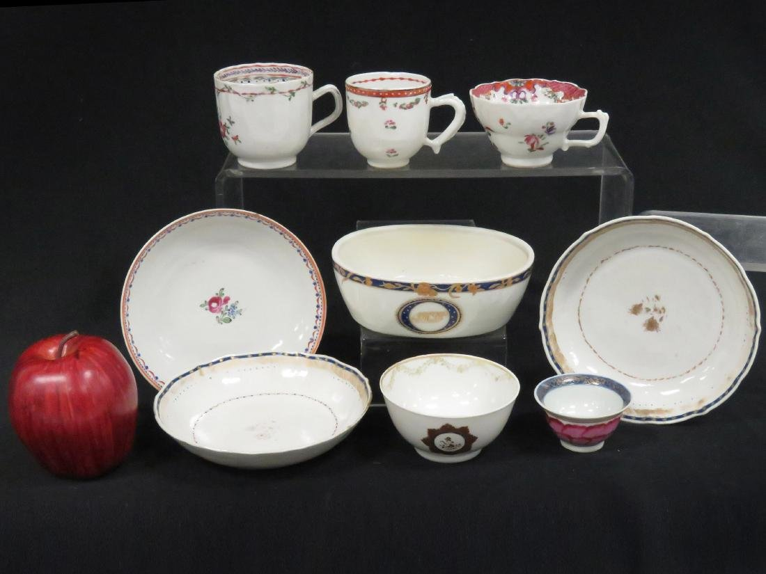 LOT (9) ASSORTED CHINESE EXPORT DECORATED PORCELAIN,