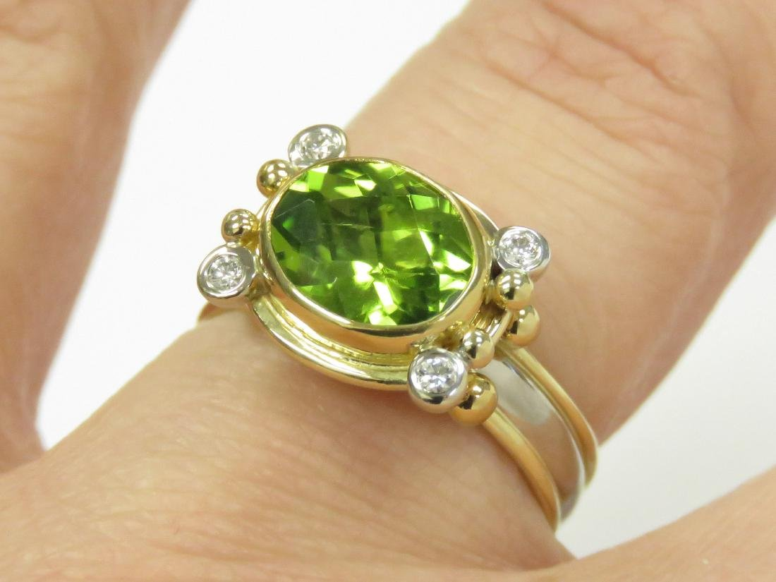 18K/22K YELLOW AND WHITE GOLD, 3.0-3.5CT PERIDOT AND