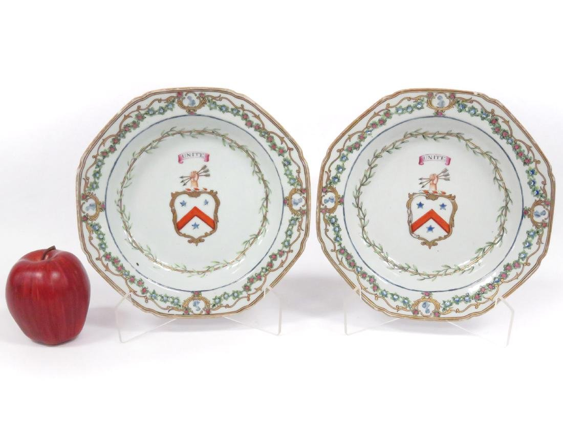 PAIR LOWESTOFF DECORATED PORCELAIN ARMORIAL BOWLS