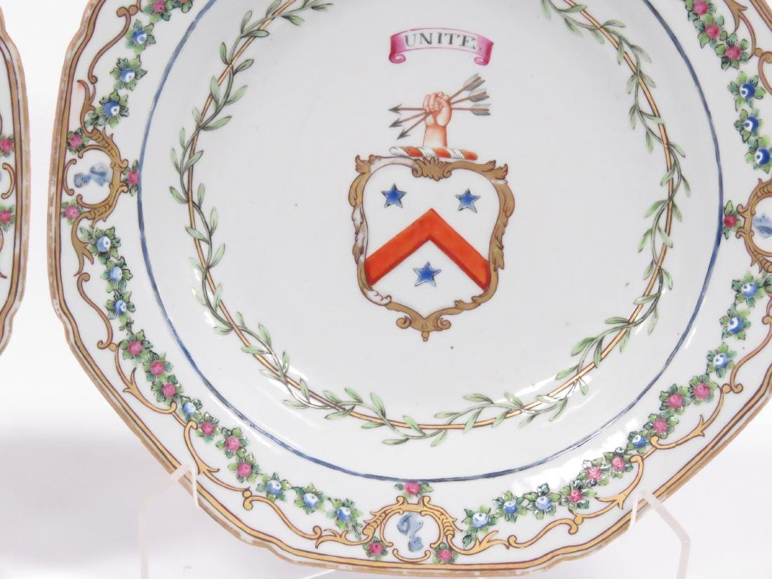 PAIR LOWESTOFF DECORATED PORCELAIN ARMORIAL BOWLS - 2