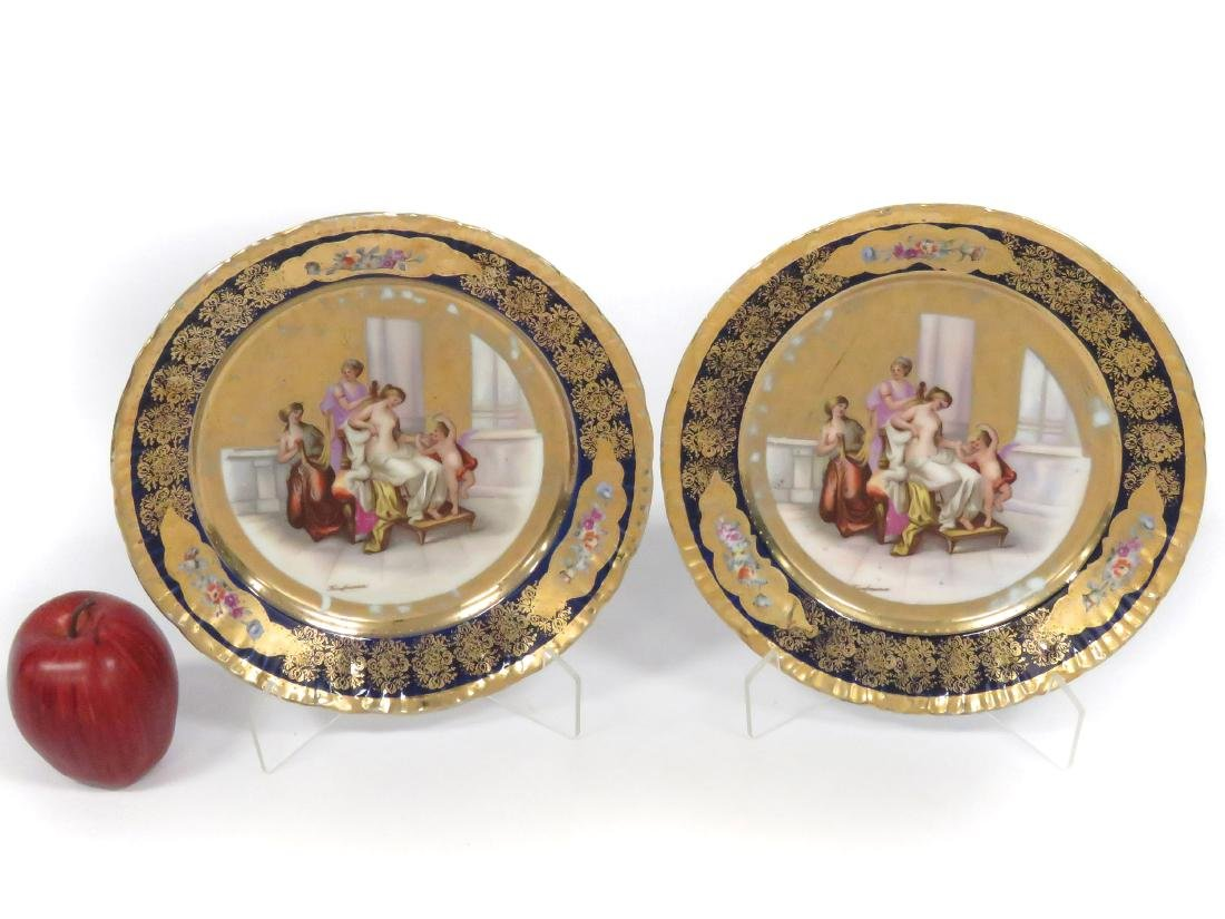 PAIR VICTORIA, AUSTRIA GILT DECORATED PORCELAIN