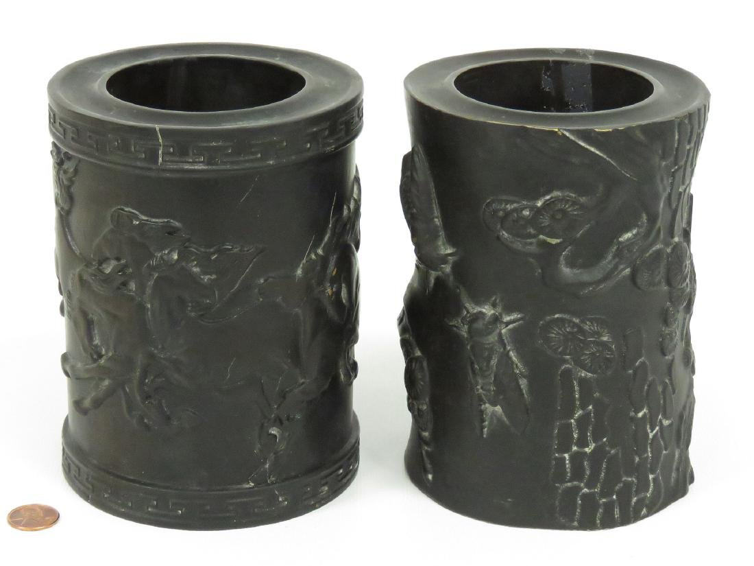 """LOT (2) CHINESE CARVED ZITAN BRUSH POTS. HEIGHT 6"""""""