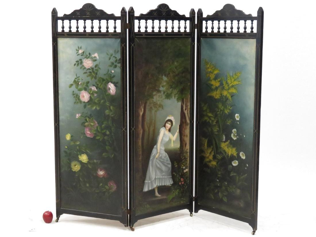 AESTHETIC CARVED AND GILT FRAMED 3-PANEL FOLDING SCREEN