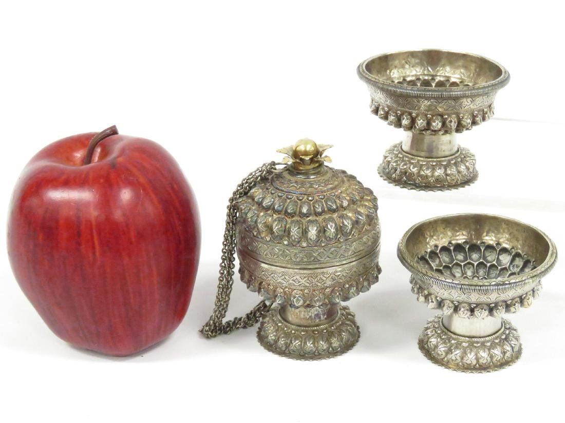 LOT (3) CAMBODIAN/KHMER SILVER OFFERING CONTAINERS.