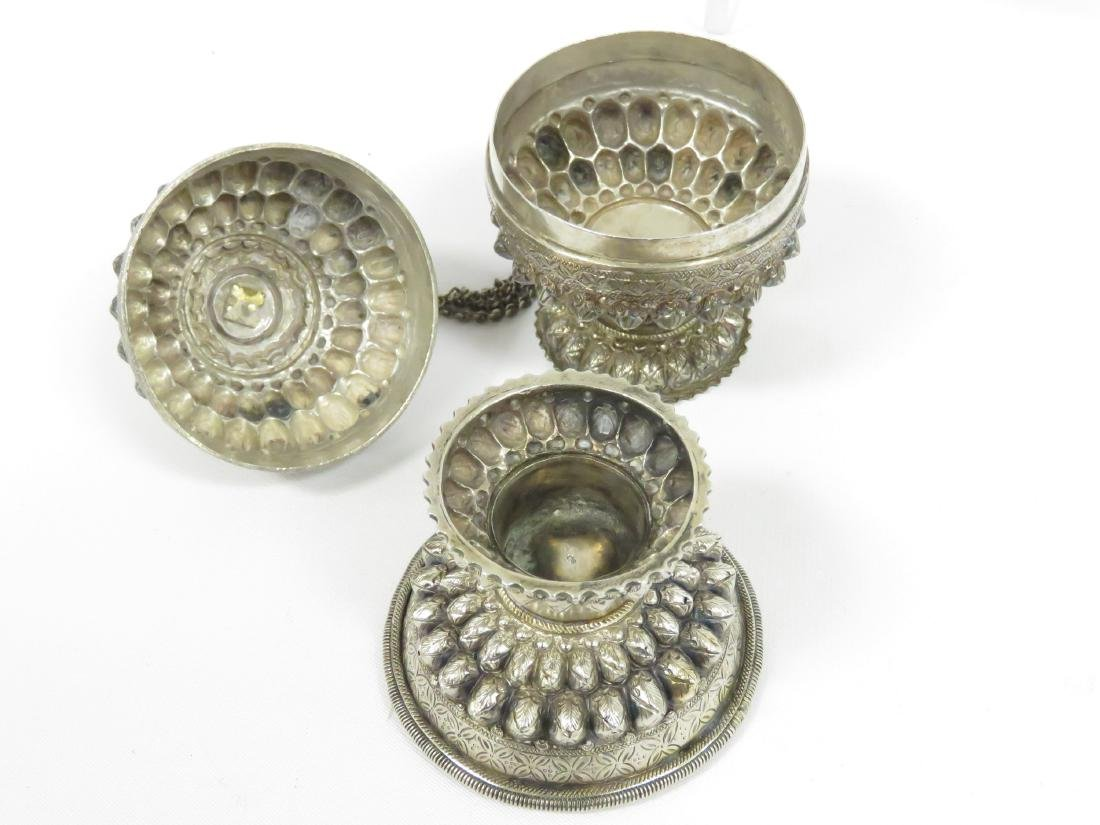 LOT (3) CAMBODIAN/KHMER SILVER OFFERING CONTAINERS. - 2