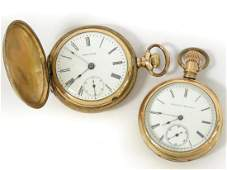 LOT (2) ANTIQUE GOLD FILLED POCKET WATCHES INCLUDING
